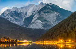 Auronzo Lake at night, Italian dolomites Stock Images