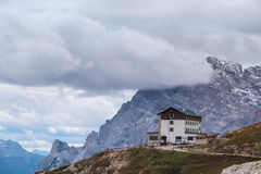 Auronzo refuge and Cadini di Misurina range Stock Images