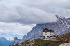 Auronzo refuge and Cadini di Misurina range. Dolomite Alps, Italy Stock Images