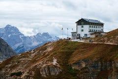 Auronzo refuge and Cadini di Misurina range. Dolomite Alps, Italy Royalty Free Stock Photos