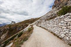 Auronzo refuge and Cadini di Misurina range, Dolomite Alps. Italy Stock Photography