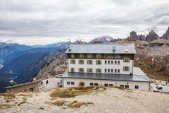 Auronzo refuge and Cadini di Misurina range, Dolomite Alps. Italy Royalty Free Stock Images