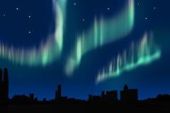 Aurora. Simulation aurora in the city Stock Photo