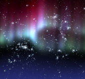 Aurora. Polar glow over dark starry sky Royalty Free Stock Images