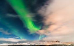 Aurora acima de Grundarfjörður, Islândia Imagem de Stock