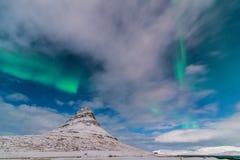 Aurora acima de Kirkjufell Foto de Stock Royalty Free
