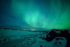 Aurora all'isola Immagini Stock