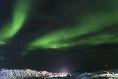 Aurora, Barents Sea coast, Russia. Aurora, Barents Sea coast at night, Russia royalty free stock photography