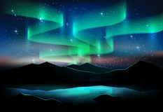 Aurora blue sky and a lot of star on lake, astronomy background, Vector illustration Stock Images