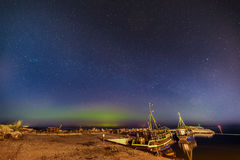 Aurora Boralis showing its beauty over the Baltic sea Royalty Free Stock Photos