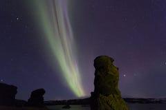Aurora boreal acima do lago Myvatn, Islândia fotografia de stock