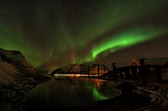 Aurora boreal Aurora Borealis Norway das ilhas de Lofoten Foto de Stock