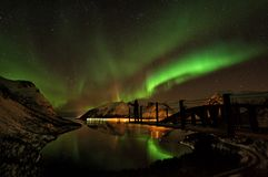 Aurora boreal Aurora Borealis Norway das ilhas de Lofoten Imagem de Stock Royalty Free