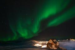 Aurora boreal de Gronelândia imagem de stock