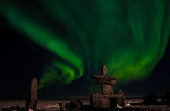 Aurora boreal de la Bahía de Hudson del Inuit Imagen de archivo