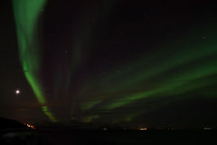 Aurora boreal em Bremnes perto de Harstad, Noruega fotografia de stock royalty free