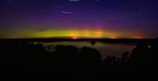 Aurora boreal en Polonia El área de Suwalki 07 10 2015 Foto de archivo libre de regalías