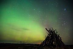 A aurora boreal nas pradarias Fotografia de Stock