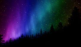 Aurora boreal sobre la colina imagen de archivo libre de regalías