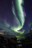 Aurora boreale (aurora borealis) sopra Tromso Fotografie Stock Libere da Diritti