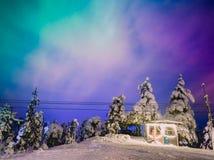 Aurora boreale in Lapponia durante l'orario invernale fotografia stock