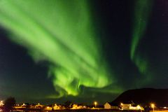 Aurora boreale in Myre in Norvegia Fotografia Stock Libera da Diritti