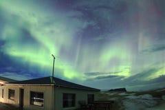 Aurora boreale nel cielo dell'Islanda Immagini Stock