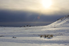 Aurora boreale nel cielo dell'Islanda Immagine Stock