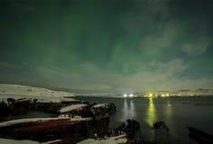 Aurora boreale su Kola Peninsula Teriberka, Murmansk regio Fotografie Stock Libere da Diritti