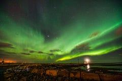 Aurora Borealis über Gróttuviti Lizenzfreie Stockbilder