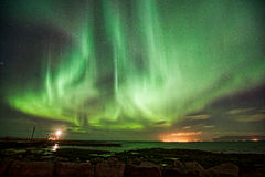 Aurora Borealis über Gróttuviti Stockbild