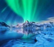 Aurora borealis über schneebedeckten Bergen, gefrorene Seeküste lizenzfreie stockfotografie