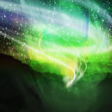 Aurora borealis. On the top of mountain view vector illustration
