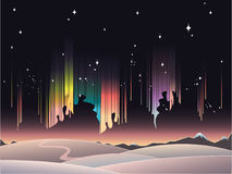 Aurora borealis. Peaceful winter landscape with aurora borealis in the sky vector illustration