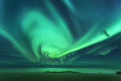 Aurora. Aurora borealis above the sea Stock Photography