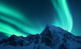 Aurora borealis above snow covered mountain range in europe. Aurora borealis above the snow covered mountain range in europe. Northern lights in winter. Night stock image