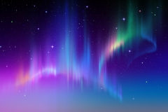 Aurora Borealis, abstract polar night sky background illustration Royalty Free Stock Photos
