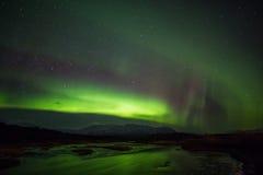 Aurora borealis au-dessus de l'Islande Images libres de droits
