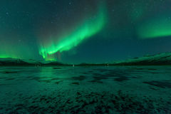 Aurora borealis, aurora boreal, Vik, Islandia Imagen de archivo