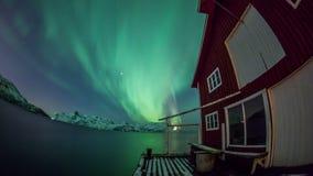 Aurora borealis costiero sopra la Norvegia stock footage