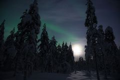 Aurora borealis in winter Lapland, Finland stock image