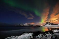 Aurora Borealis, de groene draak die boven een snowcovered strand in Flakstad-eiland, Lofoten hangen stock afbeeldingen