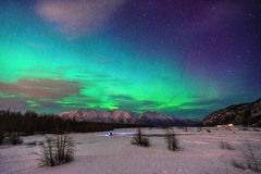 Aurora Borealis en Alaska Photos stock