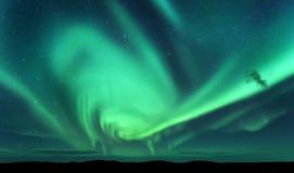 Aurora borealis en silhouet van heuvel De Eilanden van Lofoten, Noorwegen aurora Groene noordelijke lichten royalty-vrije stock foto
