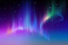 Aurora Borealis för natthimmel för abstrakt begrepp polar illustration för bakgrund vektor illustrationer
