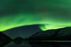 Aurora Borealis fjord Scenery Stock Photography