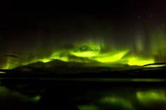 Aurora Borealis Green Over Lake Stock Afbeelding
