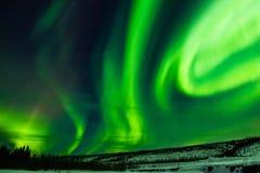 Aurora Borealis. Greenish Dancing Swirls Of Northern Lights In Starry Sky Royalty Free Stock Image