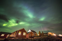 Aurora borealis in Hamnoy village, Lofoten islands, Norway Stock Images