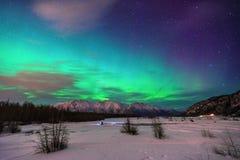 Aurora Borealis i Alaska Arkivfoton
